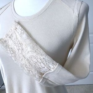 Knox Rose Ivory Crochet Lace Sleeve Top shirt XS